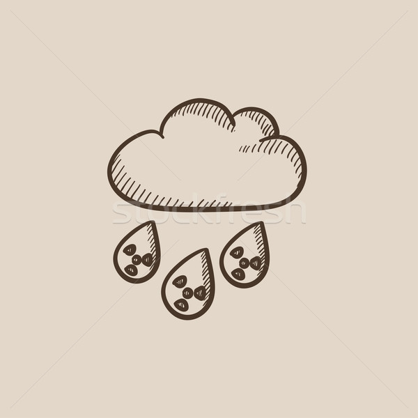 Radioactive cloud and rain sketch icon. Stock photo © RAStudio