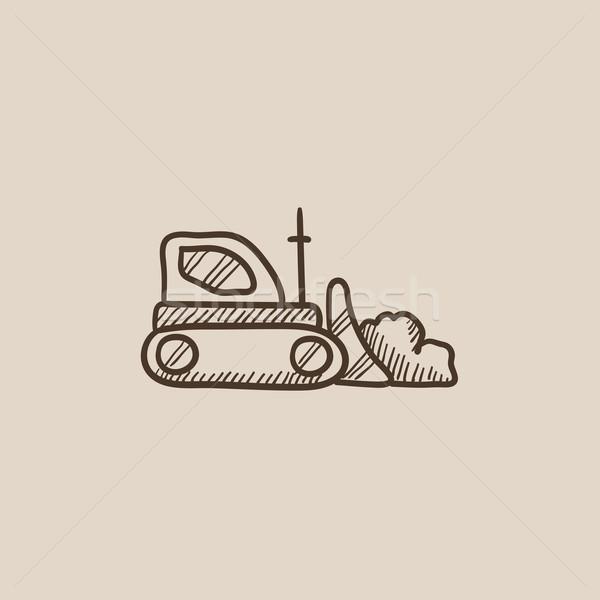 бульдозер эскиз икона веб мобильных Инфографика Сток-фото © RAStudio
