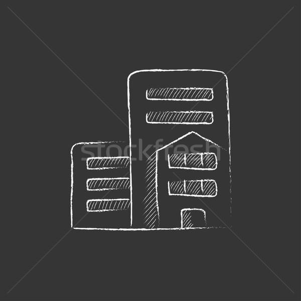 Residencial edificios tiza icono dibujado a mano Foto stock © RAStudio