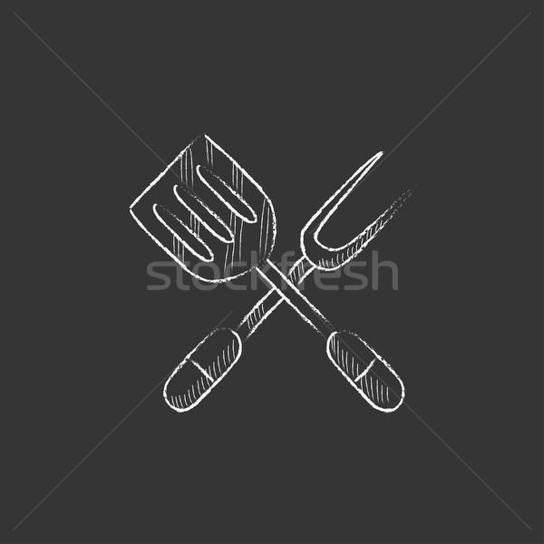 Keuken spatel groot vork krijt Stockfoto © RAStudio