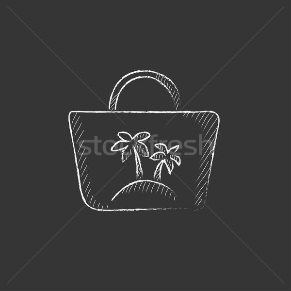 Beach bag. Drawn in chalk icon. Stock photo © RAStudio