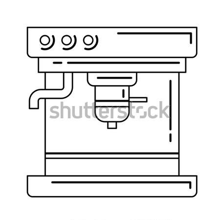 Сток-фото: кофеварка · линия · икона · уголки · веб · мобильных