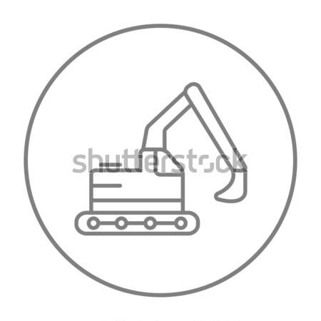 Kotrógép vonal ikon sarkok háló mobil Stock fotó © RAStudio