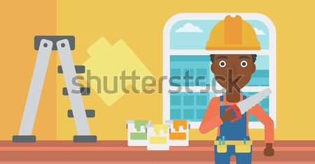 Souriant travailleur vu homme main Photo stock © RAStudio