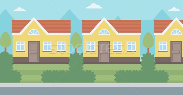 Suburbano casa vector diseno ilustración horizontal Foto stock © RAStudio
