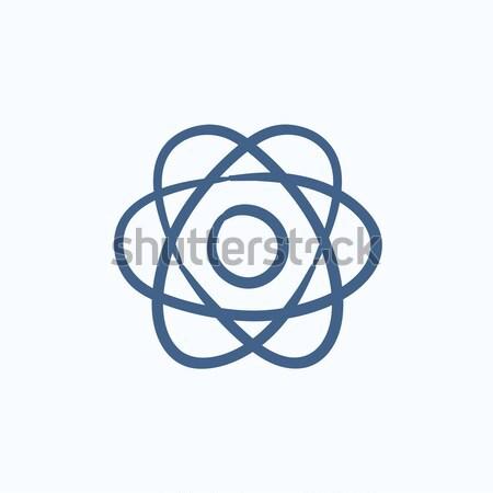 átomo esboço ícone vetor isolado Foto stock © RAStudio