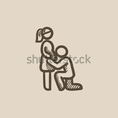 Stock photo: Man with pregnant wife sketch icon.