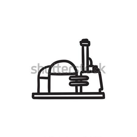 Fabriek schets icon vector geïsoleerd Stockfoto © RAStudio