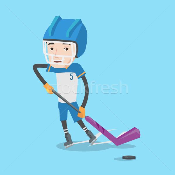 Ice hockey player vector illustration. Stock photo © RAStudio