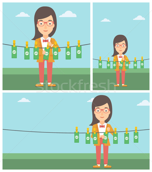 Woman loundering money vector illustration. Stock photo © RAStudio