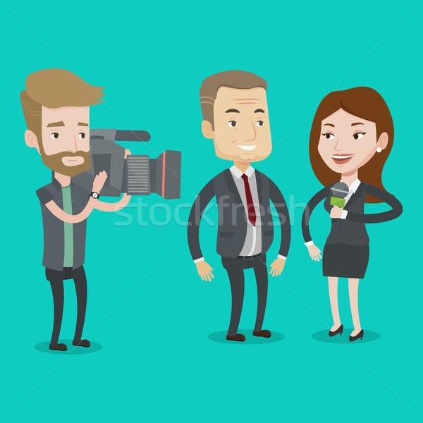 Stock photo: TV interview vector illustration.