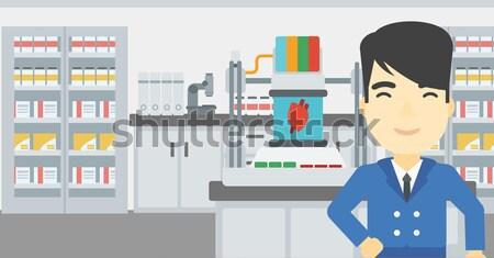 Człowiek trzy drukarki asian młody człowiek stałego Zdjęcia stock © RAStudio