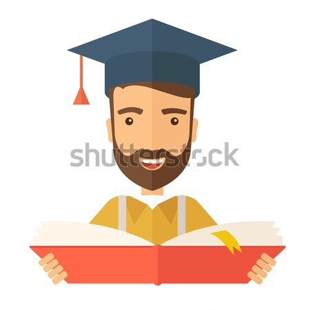Homme permanent graduation cap lecture livre Photo stock © RAStudio