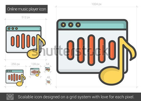 çevrimiçi müzik Çalar hat ikon vektör yalıtılmış Stok fotoğraf © RAStudio