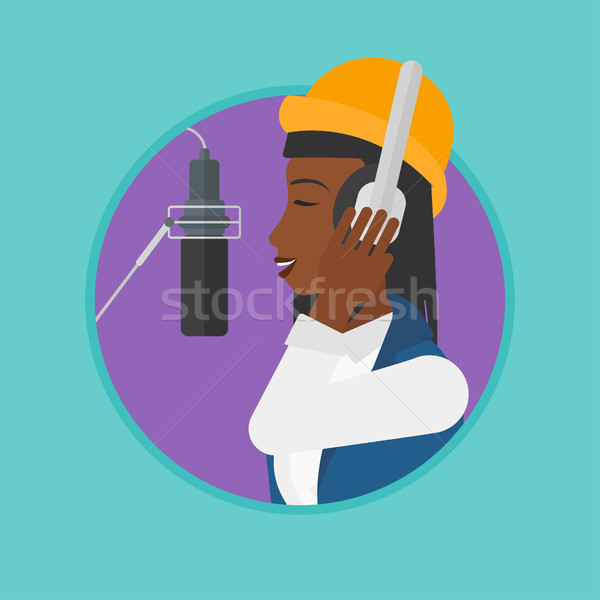 Chanteur chanson africaine femme casque chanter Photo stock © RAStudio