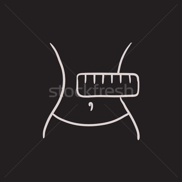 Waist with measuring tape sketch icon. Stock photo © RAStudio