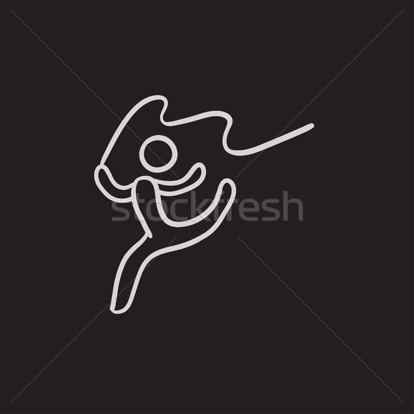 гимнаст лента эскиз икона вектора изолированный Сток-фото © RAStudio