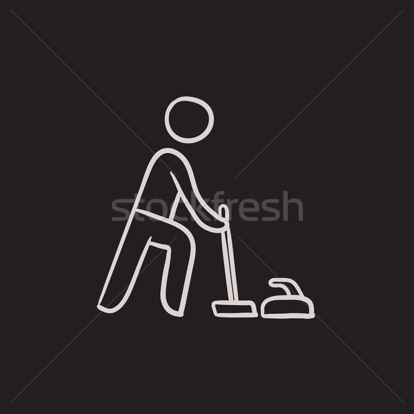 Stock photo: Curling sketch icon.