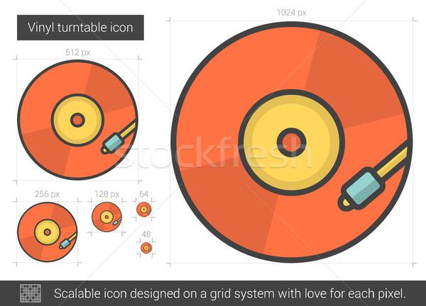 Vinil prato giratório linha ícone vetor isolado Foto stock © RAStudio