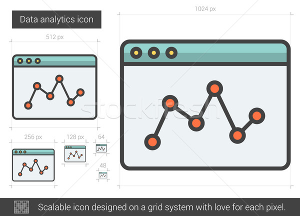 Gegevens analytics lijn icon vector geïsoleerd Stockfoto © RAStudio