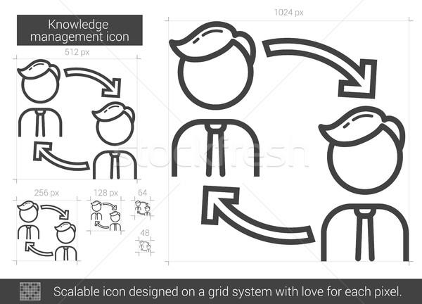 Kennis lijn icon vector geïsoleerd witte Stockfoto © RAStudio