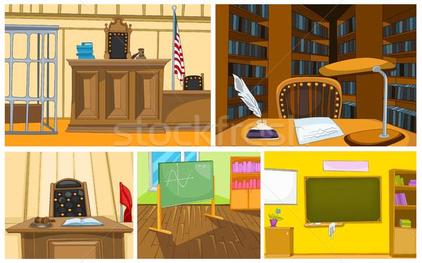 ベクトル 漫画 セット 裁判所 学校 背景 ストックフォト © RAStudio