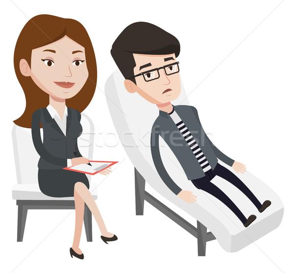 Psikolog hasta kafkas kanepe konuşma depresyon Stok fotoğraf © RAStudio