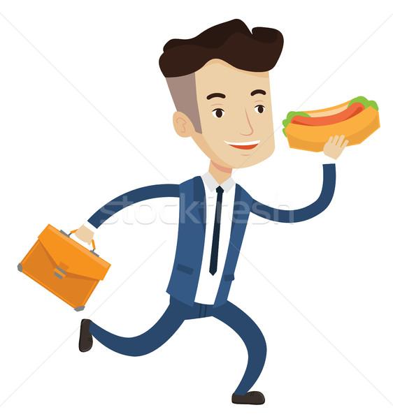 ビジネスマン 食べ ホットドッグ 急ぐ ブリーフケース 実行 ストックフォト © RAStudio