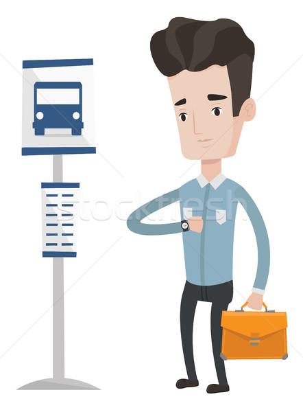男 待って バス バス停 白人 ビジネスマン ストックフォト © RAStudio