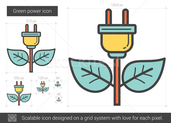 Stock photo: Green power line icon.