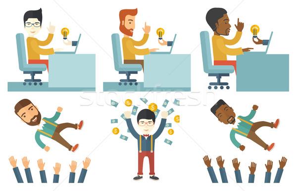 ベクトル セット イラスト ビジネスの方々  ビジネスマン 作業 ストックフォト © RAStudio