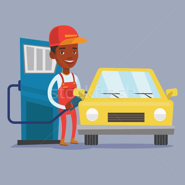 Munkás tömés felfelé üzemanyag autó benzinkút Stock fotó © RAStudio