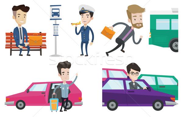 Transportation vector set with people traveling. Stock photo © RAStudio