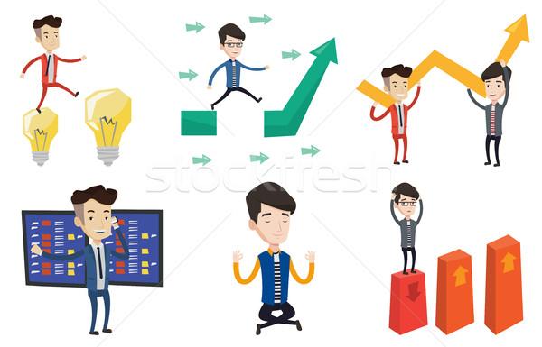 Vector ingesteld business zakenman praten Stockfoto © RAStudio