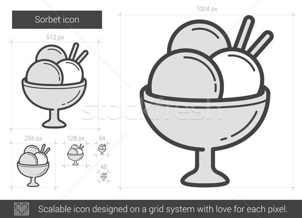 Sorbete línea icono vector aislado blanco Foto stock © RAStudio