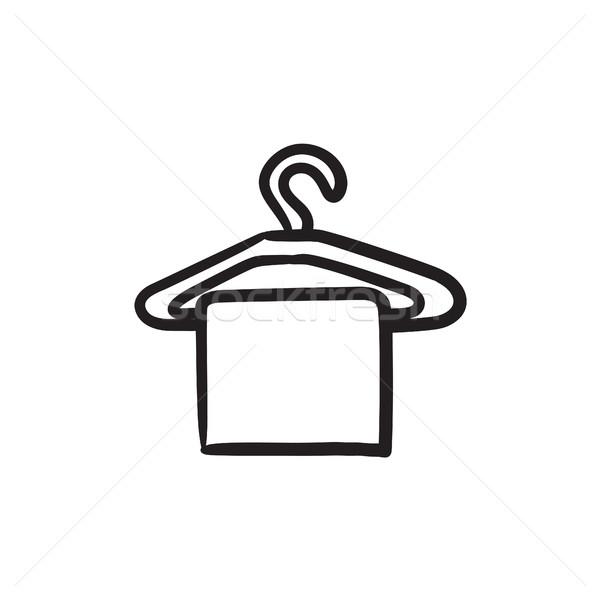Handdoek hanger schets icon vector geïsoleerd Stockfoto © RAStudio