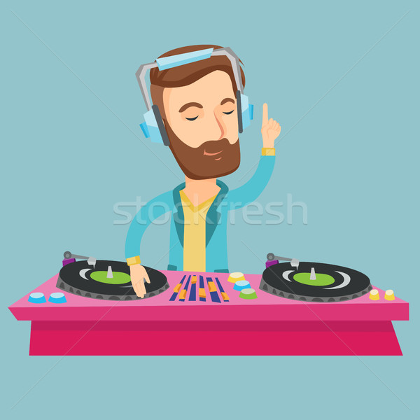 DJ mixing music on turntables vector illustration. Stock photo © RAStudio