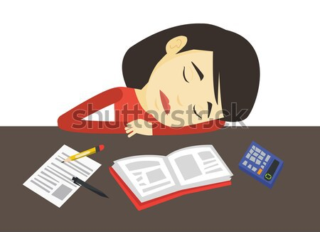 Student sleeping at the desk with book. Stock photo © RAStudio