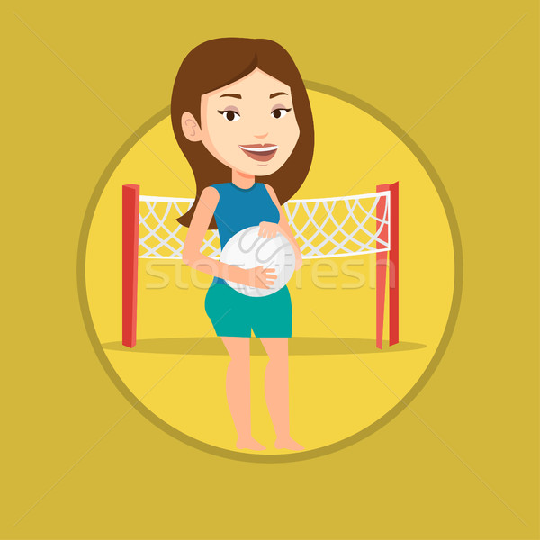 Beach volleyball player vector illustration. Stock photo © RAStudio