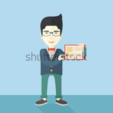 Angry businessman pointing at wrist watch. Stock photo © RAStudio