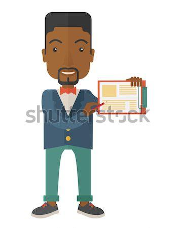 Zły pracodawca wskazując czasu pracownika Zdjęcia stock © RAStudio
