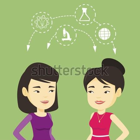 Studenten ideeën twee asian Stockfoto © RAStudio