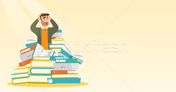 студент сидят огромный книгах кавказский Сток-фото © RAStudio