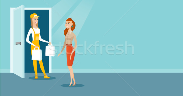 Delivery courier delivering groceries to customer. Stock photo © RAStudio