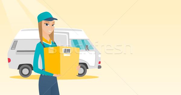 Lieferung Kurier tragen Karton Boxen Stock foto © RAStudio