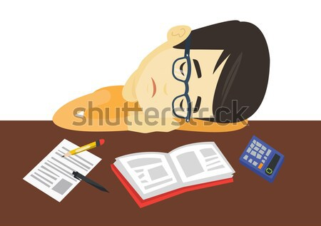 Male student sleeping at the desk with book. Stock photo © RAStudio
