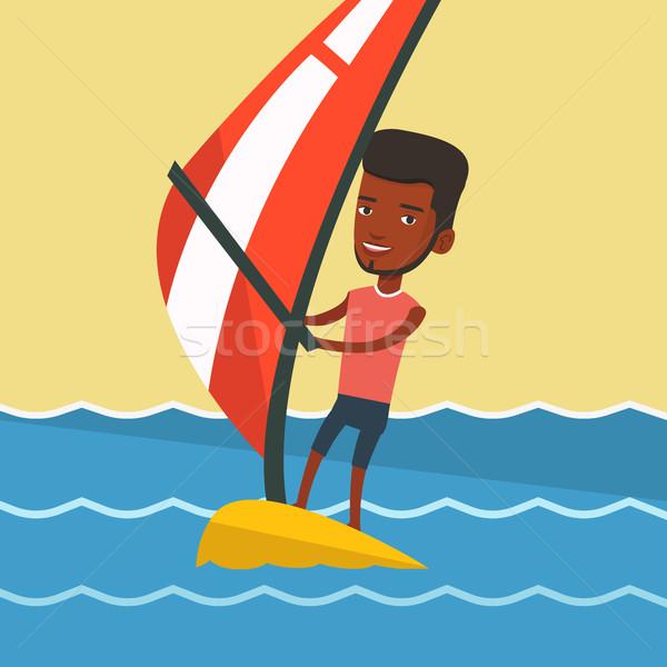 Fiatalember windszörf tenger férfi nyár nap Stock fotó © RAStudio