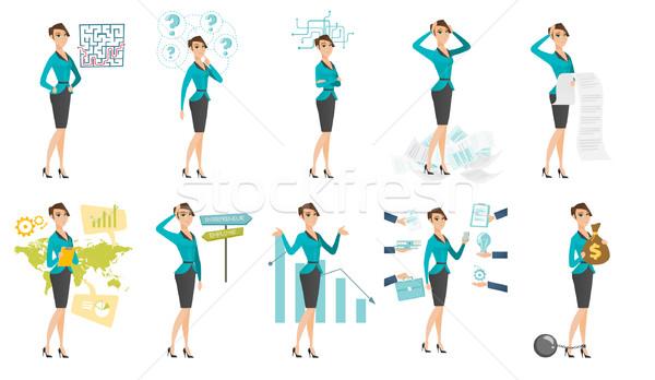 Vector ingesteld illustraties zakenlieden kaukasisch vrouw Stockfoto © RAStudio