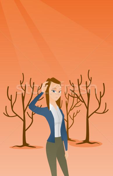 森林 破壊された 火災 地球温暖化 女性 頭 ストックフォト © RAStudio