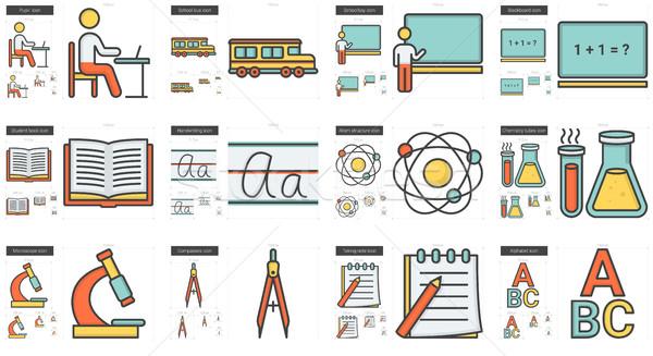 Foto stock: Educação · linha · vetor · isolado · branco